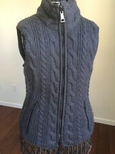 Burberry Brit Reversible Cable Knit Puffer Vest Small Gray Black Zipper  $650