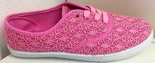 Cammie Women Canvas Crochet Round Toe Lace Up Flat Sneaker Plimsoll Boat Shoe