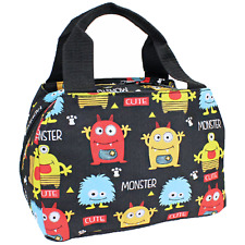 Monster Cute School Camp Travel Insulated Lunch Box Bag Black Red Yellow Blue