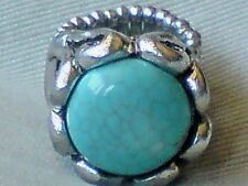 SILVER TONE & TURQUOISE RESIN ADJUSTABLE 2cm.x 2cm.STATEMENT RING £6.95 NWT