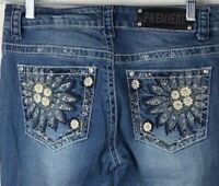 Rue 21 Premiere Jeans Womens Size 7-8R Medium Wash Embellished