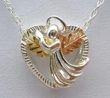 Black Hills Gold Angel Pendant Neckace Sterling Silver Heart 12K Gold Coleman