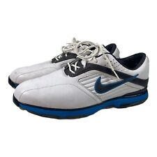 New listing Nike Golf Shoes White Blue Lunarlon Power Channel Leather Men Size 8.5 Spikeless