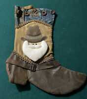 Western Santa Christmas Stocking Brown Large Faux Suede