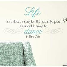 DANCE IN THE RAIN Quote wall stickers room stickups 10 decals life inspirational
