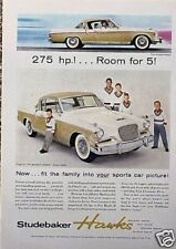1956 56 Studebaker Hawk ORIGINAL Vintage AD CMY STORE 4MORE  ADS   5+= FREE SHIP
