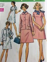 1969 Simplicity 8462 VTG Sewing Pattern  Womens Dress Jacket Scarf Size 16 1/2
