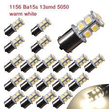 20 PCS Warm White 1156 LED RV Camper Trailer 1141 Interior Light Bulbs 13SMD 12V