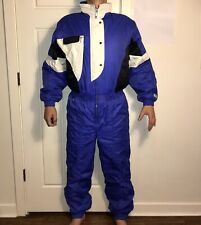 Blue SPYDER One Piece SKI SUIT Snow Bib Retro Snowsuit vtg Gaper Onsie Womens 12