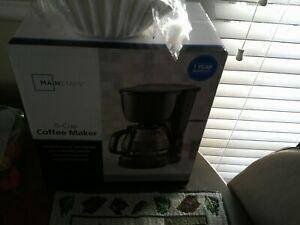 NEW Mainstays 5 Cup Black Coffee Maker Brew Pot Kitchen Removable Filter Basket