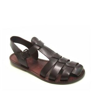 Women's dark brown flat ankle strap sandals shoes real leather Handmade in Italy