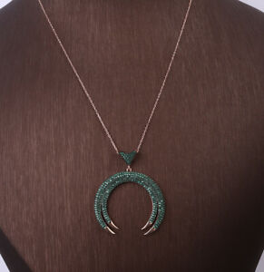 MOON EMERALD ROSE GOLD COLORED OVER .925 STERLING SILVER NECKLACE #28219