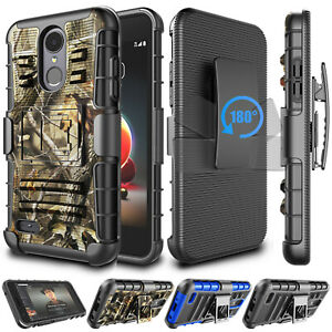 For LG Aristo 2 3 Plus/Rebel 4/Phoenix 4 Shockproof Case Cover with Clip Holster
