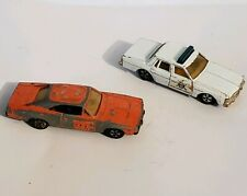 VTG 1980s ERTL DUKES OF HAZZARD 2 Car Chase Set GENERAL LEE & Police Cruiser