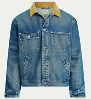 Polo Ralph Lauren VTG Retro Trucker Denim Jean Jacket Distressed Corduroy Collar