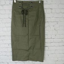 BCBG MaxAzria Skirt Womens XS Green Pencil Linen Blend MSRP $174
