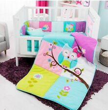 OWL DOROTY BABY GIRLS CRIB BEDDING SET NURSERY 6 PCS 100% COTTON