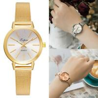 Women Waterproof Casual Ladies Gold Stainless Steel Mesh Band Quartz Wrist Watch