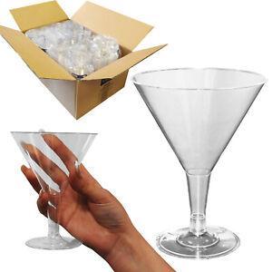 Full Case - 144 x Premium Plastic Large Martini Cocktail Party Wine Glasses
