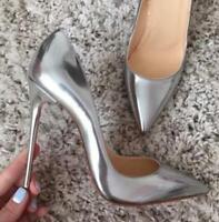 Sexy Damen 12cm Nachtclub Spitze Zehe Pumps Stilettos High Heel Schuhe Gr.34-40