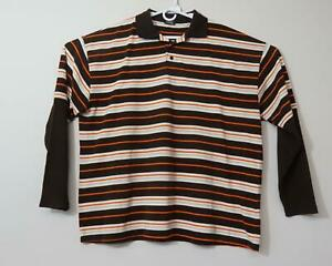 Old Skool Jeans Long Sleeve Polo Shirt Striped Brown/Orange/White Men's 5X