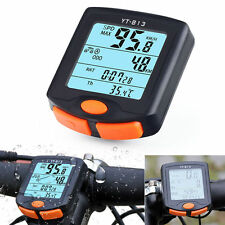 Digtal Speedometer Odometer LCD Waterproof Bike Bicycle Cycling Computer Black
