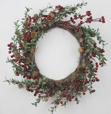 GISELA GRAHAM CHRISTMAS RED BERRY MINI CONE LEAF TWIG WREATH 45cm