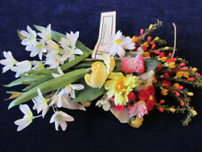 Vtg Millinery Flower Collection White Yellow w/Velv Doll Size German Czech H3245
