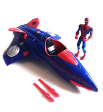 "Marvel Comics SPIDERMAN 10"" JET VEHICLE TOY with figure & firing missiles"