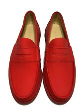NEW, CARVEN MEN'S RED LEATHER LOAFERS, 42, $695