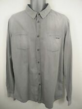 MENS SISLEY FADED GREY BUTTON UP LONG SLEEVED CASUAL SLIM FIT SHIRT UK XL XLARGE