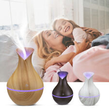 130ml Led Essential Oil Diffuser Humidifier Aromatherapy Wood Grain Vase Aroma