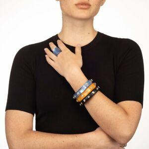 Alexis Bittar Crystal Pear Studded Hinge Bracelet Blue w Pouch $235