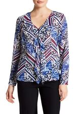 NWT Laundry Shelli Segal Mazarine Blue V-Neck Ruffle Top Blouse Long Slv 10 $99