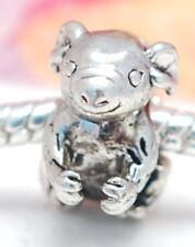 HANDMADE .925 SILVER EUROPEAN Charm Bead for Bracelet KOALA BEAR MOM & BABY H21