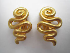 CECILE JEANNE PARIS gold-plated abstract squiggle, snake clip earrings EUC