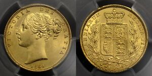SCARCE EARLY VICTORIA 1849 GOLD SOVEREIGN, SECOND HEAD, MS 62