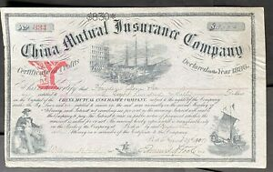 CHINA MUTUAL INSURANCE COMPANY Stock 1905. Boston, Massachusetts. 1886.  BEAUTY