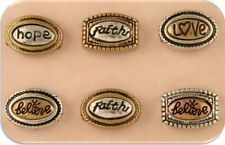 2 Hole Beads Faith Hope Love Believe Ovals 3T Silver Copper Gold ~ Sliders QTY 6