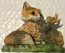 Fox Sitting on Log Porcelain Figurine Homco