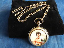 BRUCE LEE CHROME POCKET WATCH WITH CHAIN (NEW)