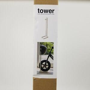 Yamazaki Tower Pedal Less Bicycle & Helmet Stand White