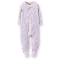 NWT CARTER'S GIRLS BLUE/PINK Zebra Print Fleece Blanket Sleeper SIZES 2T 3T & 4T