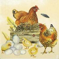 20 X Hühnern Chicks Eier Neste 3 Ply Papier Servietten Napkins 33cm X 33cm