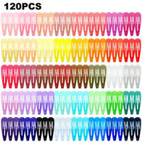 120 Pc 40 Colors Womens Girls Candy Color Hair Snap Hair Clips Hairpin Barrettes