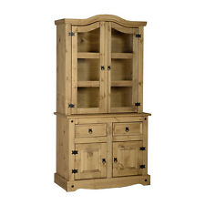 Corona Buffet Hutch Single Distressed Waxed Pine/Glass