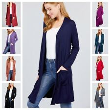 Women's Solid Jersey Knit Open Front Knee Length Open Cardigan with pockets S-3X