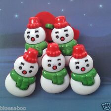 per 5 white, green  & red  Christmas snowman buttons 28 mm x 16mm