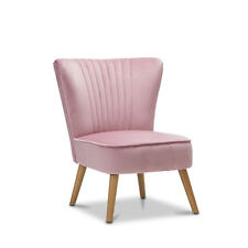 Blush Pink Accent Slipper Chair Chic Quilted Padded Velvet Fabric Wooden Frame