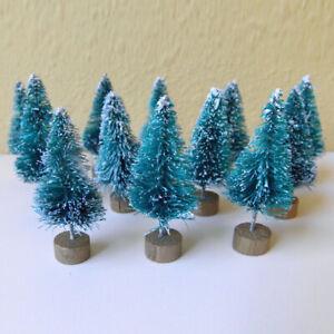 12pcs Mini Sisal Tree CHRISTMAS TREES Snow Frost Village Micro Landscape Decor